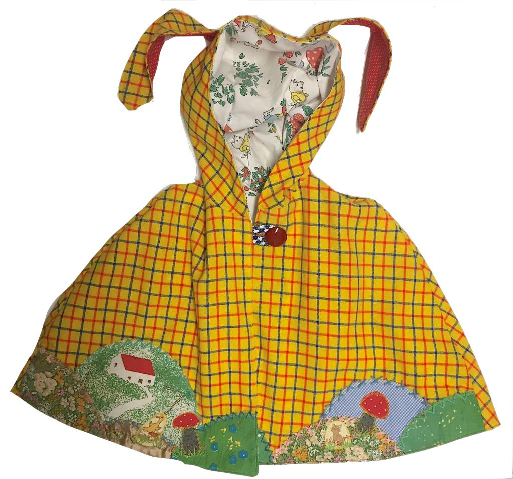 Yellow Plaid Bunny Ear Cape 4-6yrs