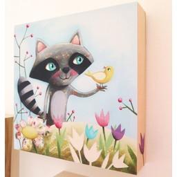 Catsa *Tableau de Bois Fait à la Main de Catsa, Raton, 8'' x 8''