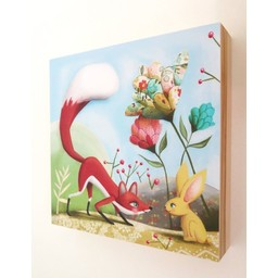 Catsa *Tableau de Bois Fait à la Main de Catsa, Renard, 8'' x 8''