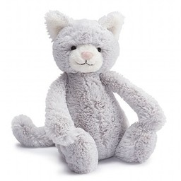 Jellycat Chaton Bashful de Jellycat/Jellycat Bashful Kitty, Gris/Grey, Moyen/Medium, 12 pouces/inches