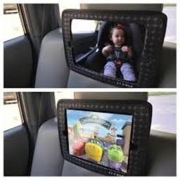 JJ Cole Miroir 2-en-1 (Support pour iPad et Mirroir) de JJ Cole/JJ Cole 2-in-1 Mirror, Goutte Grise/Gray Drop