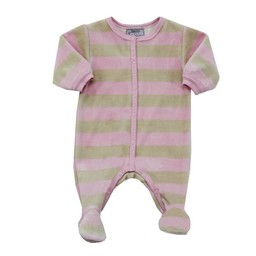 Coccoli *Pyjama à Pattes en Velours avec Rayures de Coccoli/Coccoli Velvet Footie with Stripes