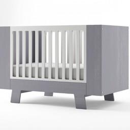 Dutailier Dutailier Pomelo - Lit de Bébé Convertible/Convertible Crib, Gris et Blanc/Grey and White, Programme Stock