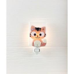 Veille Sur Toi Veilleuse en Verre Chat Rose Ferguson par Veille sur Toi, Veille sur Toi Glass Nightlight Ferguson the Pink Cat