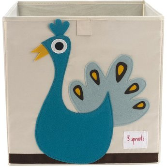 3 sprouts 3 Sprouts - Boîte de Rangement/Storage Box, Paon Turquoise/Turquoise Peacock