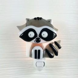 Veille Sur Toi Veille sur Toi - Veilleuse en Verre Raton Laveur Gris Gaston / Nightlight Grey Raccoon
