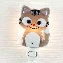 Veille Sur Toi Veille sur Toi - Veilleuse en Verre Ferguson le Chat / Glass Nightlight Ferguson the Cat