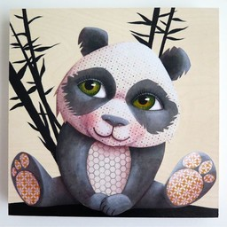 Catsa *Tableau de Bois Noir et Blanc Sans Bordure de Catsa/Catsa Black and White Canvas without Border, Panda, 12x12 pouces