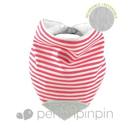 Perlimpinpin Bavoir de Dentition Réversible de Perlimpinpin/Perlimpinpin Reversible Theeting Bib, Rayé Rouge/Red Striped