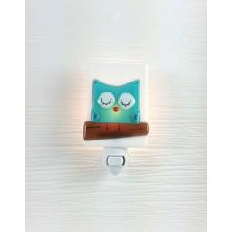 Veille Sur Toi Veilleuse en verre Hibou Turquoise par Veille sur Toi, Veille sur Toi Glass Nightlight Aqua Owl