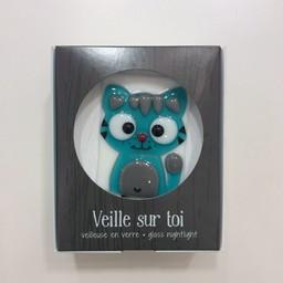 Veille Sur Toi Veilleuse en Verre Chat Turqoise Timothé par Veille sur Toi, Veille sur Toi Glass Nightlight Turquoise Cat