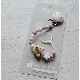 Orange et Coco Attache-Suce en Bois de Orange et Coco/Wood Pacifier Clip by Orange and Coco, Ourson Mauve/Purple Bear