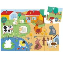 Djeco Djeco - Puzzle Géant Tactilo/Tactilo Giant Puzzle, Ferme/Farm