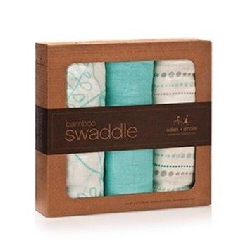 Aden + Anais Paquet de 3 Couvertures pour Emmailloter en Bambou/3-Pack Bamboo Swaddling Wraps, Azure