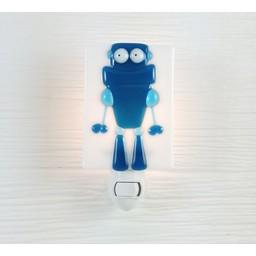 Veille Sur Toi *Veilleuse en Verre Robot Bleu Robert par Veille sur Toi, Veille sur Toi Glass Nightlight Blue Robot