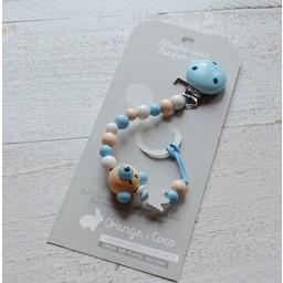 Orange et Coco Attache-Suce en Bois de Orange et Coco/Wood Pacifier Clip by Orange and Coco, Ourson Bleu/Blue Bear