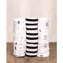 Little Unicorn *Paquet de 3 Couvertures en Mousseline de Coton de Little Unicorn/Little Unicorn Cotton Muslin Swaddle 3 Pack, Black and White