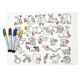 Modern-Twist Napperon en Silicone à Colorier et 4 Feutres Effaçables Mark-Mat/Hand-Silkscreened Coloring Placemat and 4 Recycled Markers, Alphabet Animals