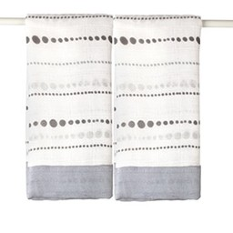 Aden + Anais *Paquet de 2 Couvertures Sécurisantes, Moonlight/2-Pack Bamboo Security Blanket, Moonlight- Perles/Beads