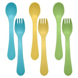 Green Sprouts Green Sprouts - Ensemble de 6 Cuillères et Fourchettes/6 Pack Feeding Spoons and Forks, Aqua, Jaune et Vert/Aqua, Yellow and Green