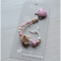 Orange et Coco Attache-Suce en Bois de Orange et Coco/Wood Pacifier Clip by Orange and Coco, Ourson Rose/Pink Bear