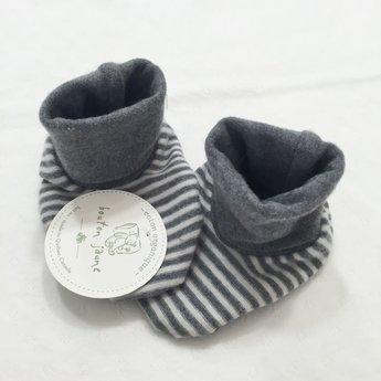 Bouton Jaune Bouton Jaune - Chaussons en Coton Organique/Organic Cotton Booties, Gris et Crème/Grey and Cream, 0-3 Mois/Months