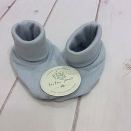 Bouton Jaune Chaussons en Coton Organique de Bouton Jaune/Bouton Jaune Organic Cotton Booties, Bleu/Blue, 0-3 Mois/Months