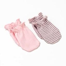Bouton Jaune Bouton Jaune - 2 Paires de Mitaines de Naissance avec Élastique/2 Pairs of Birth Mittens with Elastic,  Rose et Gris/Pink and Grey, 0-3 mois/months