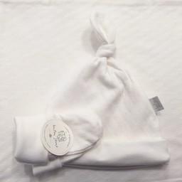 Bouton Jaune Bouton Jaune - Ensemble Chapeau et Mitaines en Coton Organique/ Organic Cotton Hat and Mitt, Crème/Cream