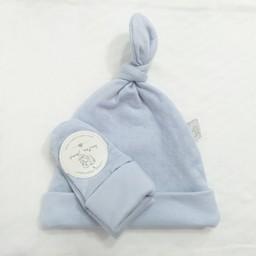 Bouton Jaune Bouton Jaune - Ensemble Chapeau et Mitaines en Coton Organique/Organic Cotton Hat and Mitt, Bleu/Blue