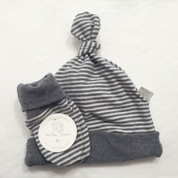 Bouton Jaune Bouton Jaune - Ensemble Chapeau et Mitaines en Coton Organique/Organic Cotton Hat and Mitt, Gris et Blanc/Grey and White, 0-3 Mois/Months