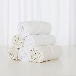 Bouton Jaune Drap Contour en Coton de Bouton Jaune/Bouton Jaune Cotton Fitted Sheet, Blanc/White