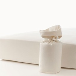 Bouton Jaune Bouton Jaune - Drap Contour en Coton Organique/Organic Cotton Fitted Sheet, Crème/Cream