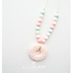 Loulou Lollipop Collier de dentition Beigne de Loulou Lollipop/Loulou Lollipop Donut teether necklace, Rose menthe/Pink Mint