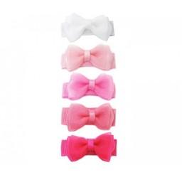 Baby Wisp Baby Wisp - Ensemble de 5 Petites Barrettes Tuxedo / Small Snap 5 Pack Tuxedo Bows, Brume Rose/Pink Haze