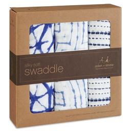 Aden + Anais *Paquet de 3 Couvertures pour Emmailloter en Bambou/3-Pack Bamboo Swaddling Wraps, Indigo