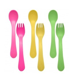 Green Sprouts Ensemble de 3 Cuillères et Fourchettes fait à partir de plantes de Green Sprouts/Green Sprouts Ware Fork and Spoons made from plants 6 Pieces, Rose/Pink