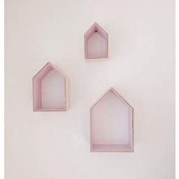 Ma Petite Maison Ensemble de 3 Maisons de Ma Petite Maison/Ma Petite Maison Set of 3 Houses, Rose Pâle/Light Pink