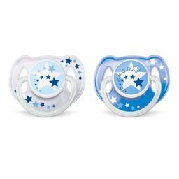 Philips Avent Suces de Nuit de Philips AVENT/Philips AVENT Nighttime Soothers, 6-18 mois/months, Étoiles Bleues/Blue Stars