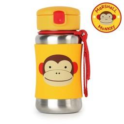Skip Hop Bouteille en Acier Inoxydable avec Paille Zoo de Skip Hop/Skip Hop Stainless Steel Straw Bottle, Singe/Monkey