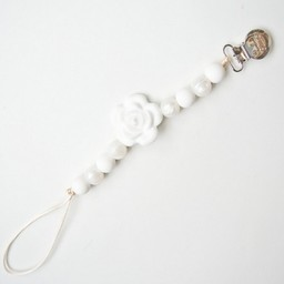 Loulou Lollipop Attache-Suce avec fleur de Loulou Lollipop/Loulou Lollipop Pacifier Clip with Flower,White Pearl