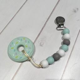 Loulou Lollipop Jouet de Dentition Beigne Menthe de Loulou Lollipop/Loulou Lollipop Mint Donut Teether, Menthe et Gris/Mint Grey