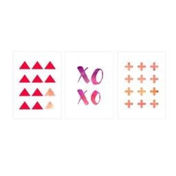Manu Design *Ensemble de 3 Affiches 11x14 de Manu Design/Manu Design 11x14 Posters 3-Pack, XOXO Corail/XOXO Coral
