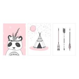Manu Design *Ensemble de 3 Affiches 5x7 de Manu Design/Manu Design 5x7 Posters 3-Pack, Panda-Rose/Panda-Pink