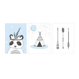 Manu Design *Ensemble de 3 Affiches 5x7 de Manu Design/Manu Design 5x7 Posters 3-Pack, Panda-Bleu/Panda-Blue
