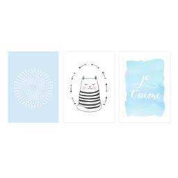 Manu Design *Ensemble de 3 Affiches 11x14 de Manu Design/Manu Design 11x14 Posters 3-Pack, Chat-Bleu/Cat-Blue