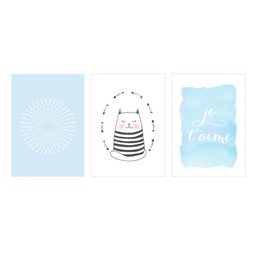 Manu Design *Ensemble de 3 Affiches 8x10 de Manu Design/Manu Design 8x10 Posters 3-Pack, Chat-Bleu/Cat-Blue