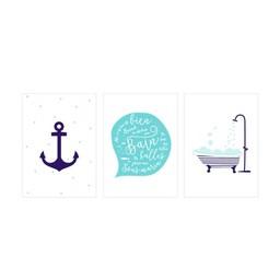 Manu Design *Ensemble de 3 Affiches 5x7 de Manu Design/Manu Design 5x7 Posters 3-Pack, Bain/Bath