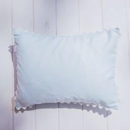 Bouton Jaune *Bouton Jaune - Cache-Oreiller 10x13 Pouces, Toi Moi Coco/Toi Moi Coco 10x13 Inches Pillow Cover, Bleu à Pois/Blue with Dots