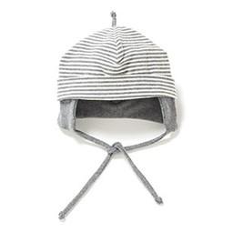 Bouton Jaune *Bouton Jaune - Chapeau à CordonsCords Hat, Gris et Crème/Grey and Cream, 3-6 Mois/Months